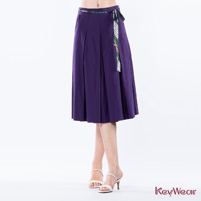 【KeyWear 奇威名品】撞色腰帶中庸裙