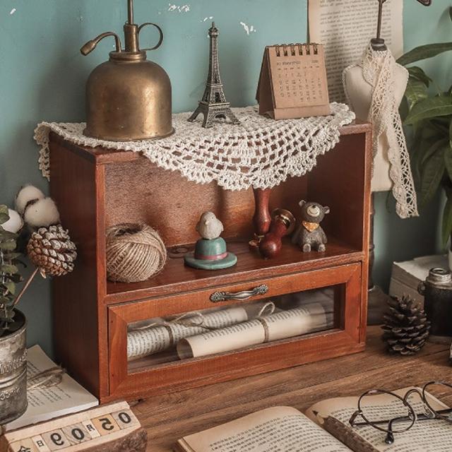 【慢慢家居】復古實木玻璃桌面收納櫃 展示櫃 置物櫃(一格一抽)