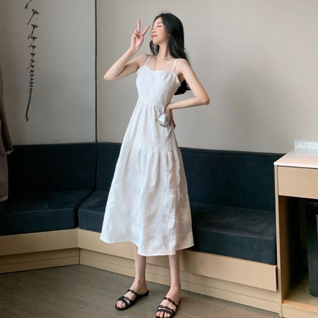 【Dorri】素雅氣質無袖高腰修身純白洋裝S-L