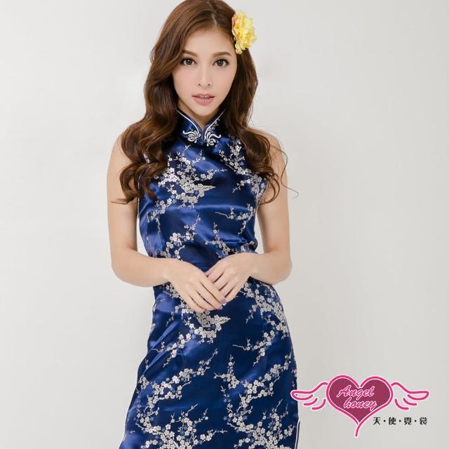 【Angel 天使霓裳】快速到貨-旗袍 柔美韻味 性感角色扮演服(深藍F)