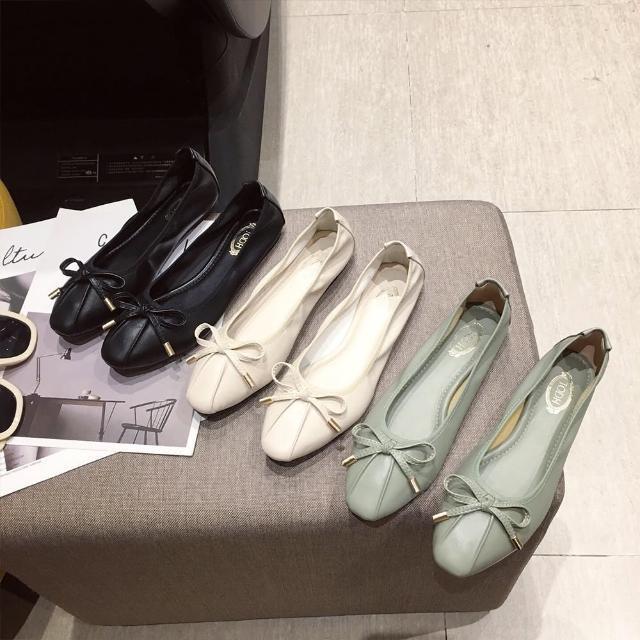 【Sp house】清新少女蝴蝶結柔軟平底娃娃鞋(3色可選)