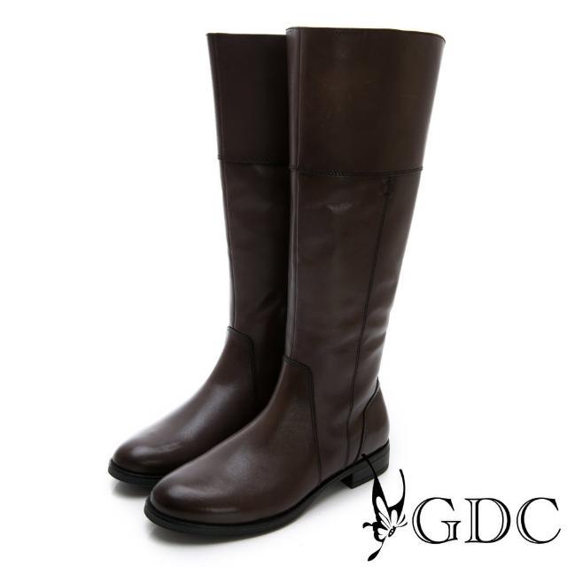 【GDC】真皮美西率性設計感秋冬長靴-灰色(728916)