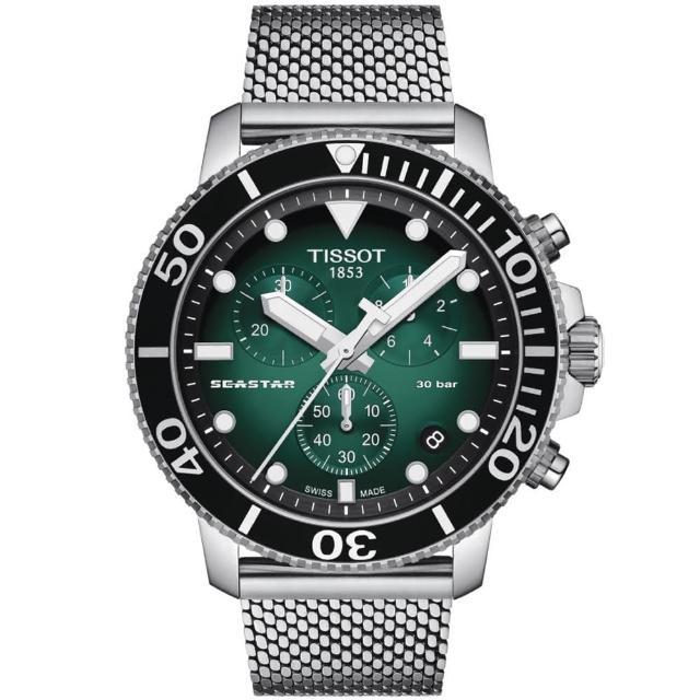 【TISSOT 天梭】Seastar 1000海星300米防水米蘭帶三眼計時錶-45.5mm/綠(T1204171109100)
