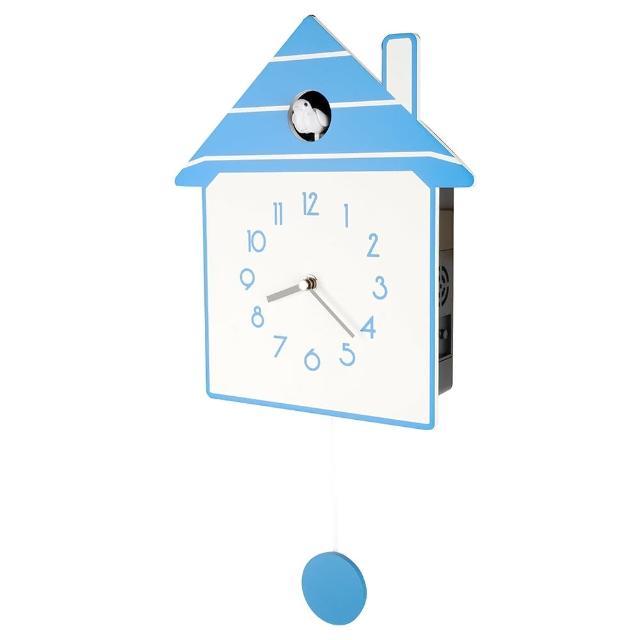 【鐘情坊 JUSTIME】原木現代感都市風可愛造型石英咕咕擺錘鐘掛鐘(藍白咕咕報時 慢擺音樂時鐘 壁鐘)