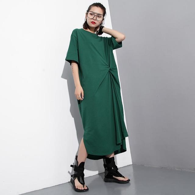 【CLORI】歐美純色大碼腰扭結寬鬆短袖洋裝M-L(共三色)