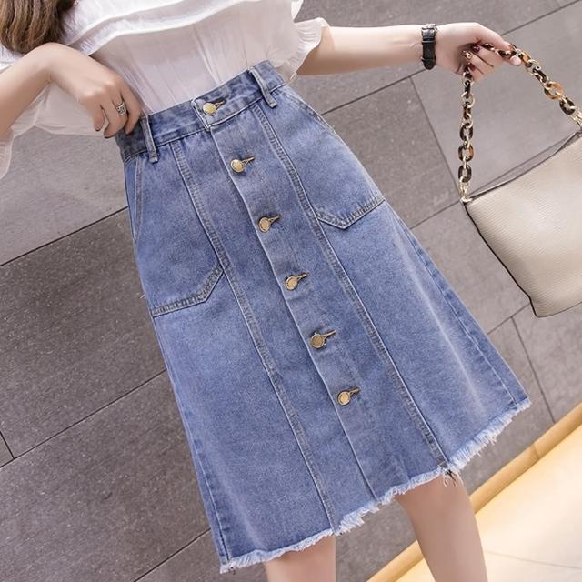 【WHATDAY】優雅休閒銅釦毛邊中長牛仔裙S-XL