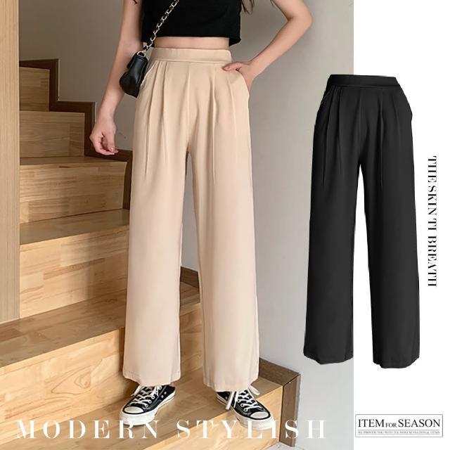 【QIDINA】休閒寬鬆垂感高腰直筒涼感透氣長褲(M L 2色任選)