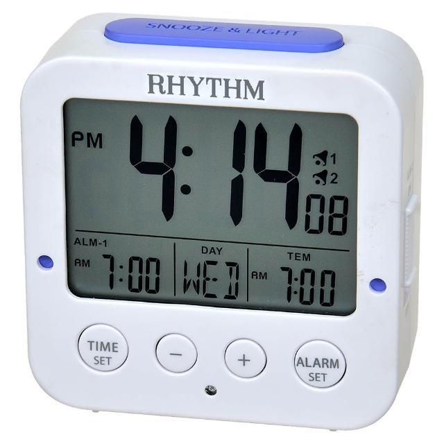 【RHYTHM 麗聲】輕巧易攜帶雙鬧鈴設計電子鐘(日期/溫度顯示)