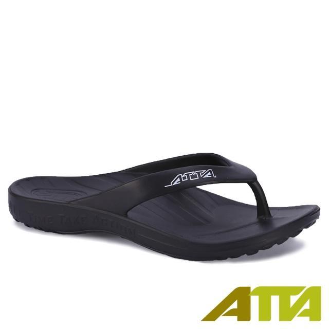 【ATTA】扁平足推薦★足弓支撐簡約夾腳拖鞋(黑色)