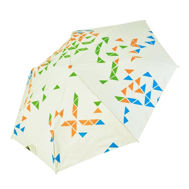 【rainstory】-8°降溫凍齡個人自動傘-撞色幾何-綠(遮光色膠系列)