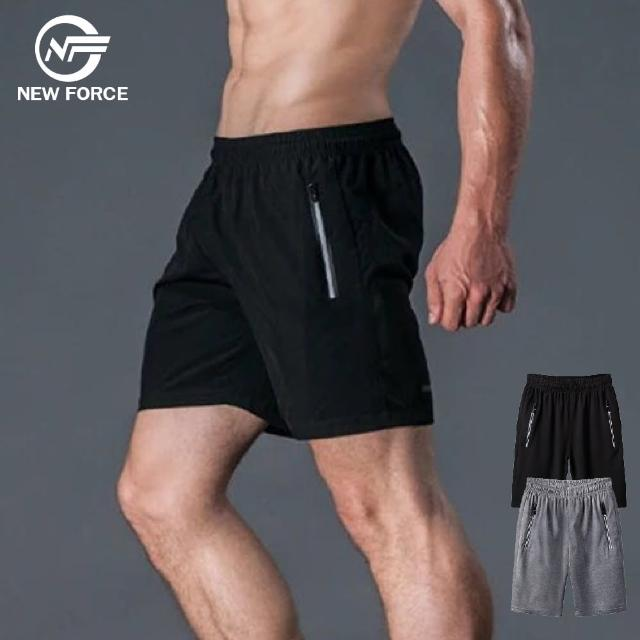 【NEW FORCE】任選-立體剪裁男休閒運動短褲-2色可選(XL~4XL/鬆緊腰帶/機能褲)