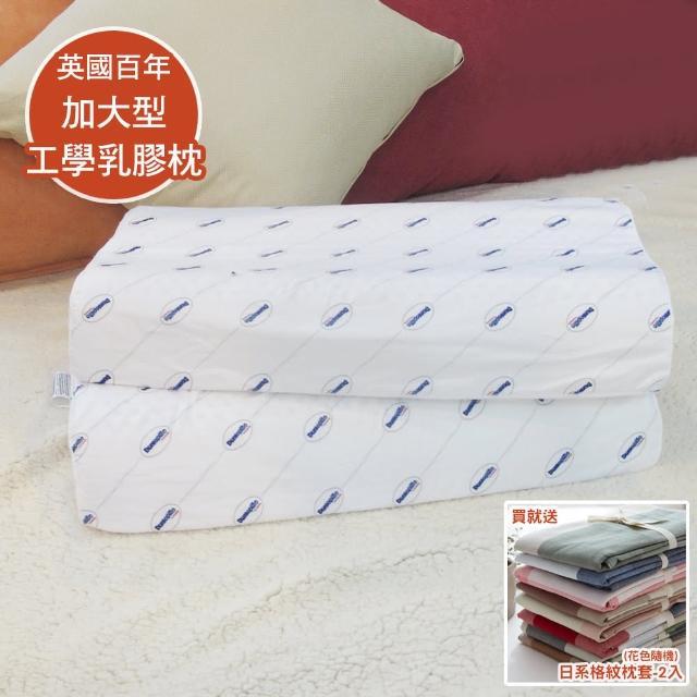 【送枕套2入】Dunlopillo 英國百年品牌鄧祿普加大型工學防蹣乳膠枕-一入(40x70cm)