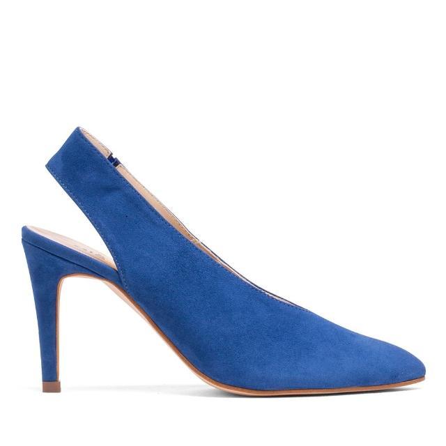 【MISWEAR】女-跟鞋-MISWEAR麂皮尖頭後空高跟鞋-藍