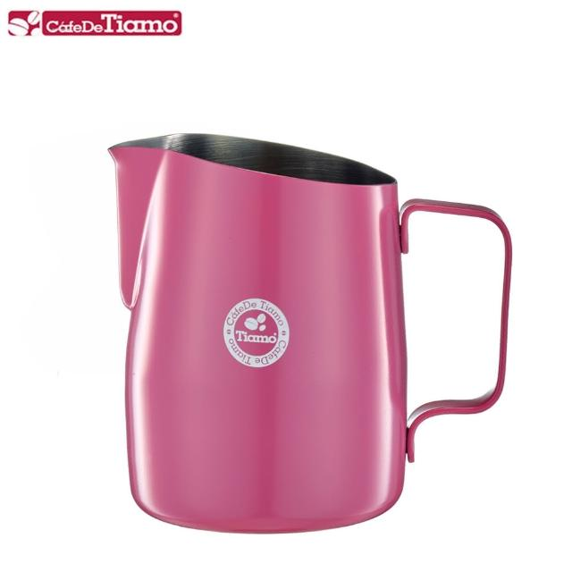 【Tiamo】斜口拉花杯450cc-圓口設計粉色(HC7106PK)