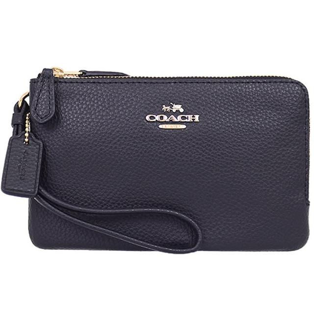 【COACH】黑色立體LOGO皮革雙拉鍊手拿包