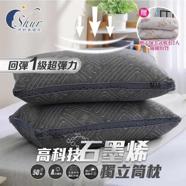 【ISHUR 伊舒爾】買1送1 多款機能獨立筒枕(加碼贈天絲枕套2入/台灣製造枕頭)