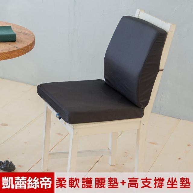 【凱蕾絲帝】台灣製造-久坐良伴柔軟記憶護腰墊+高支撐坐墊兩件組(黑色)