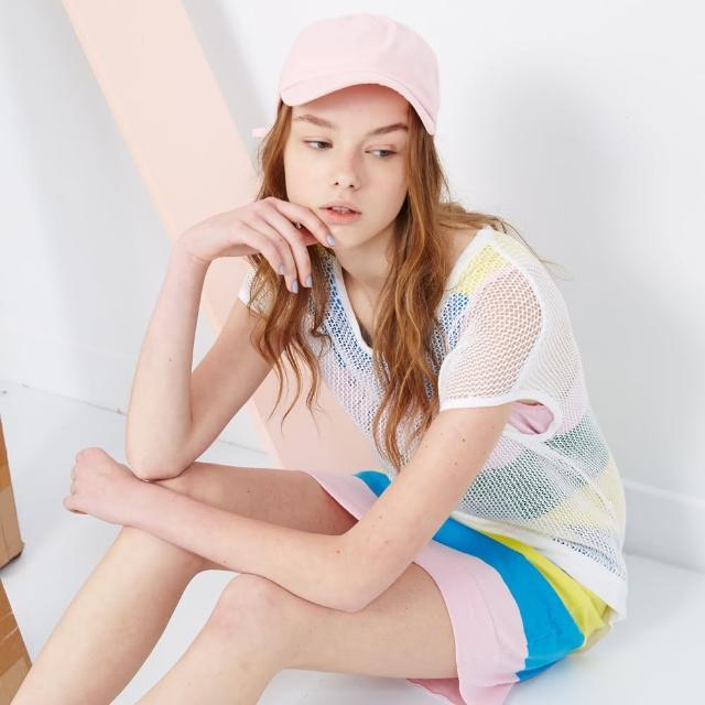 【ICHE 衣哲】兩件式拼接條紋洋裝 兩色-白