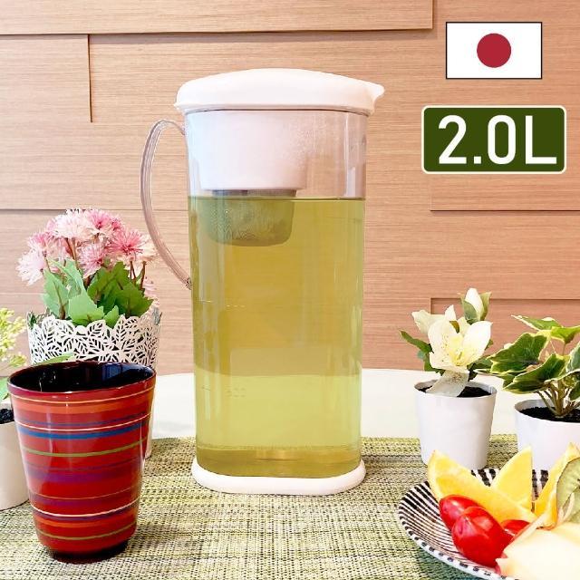日本製RAKU RAKU大容量耐熱冷水壺/泡茶壺 2.0L 附不鏽鋼濾網(冷泡茶/熱泡茶)