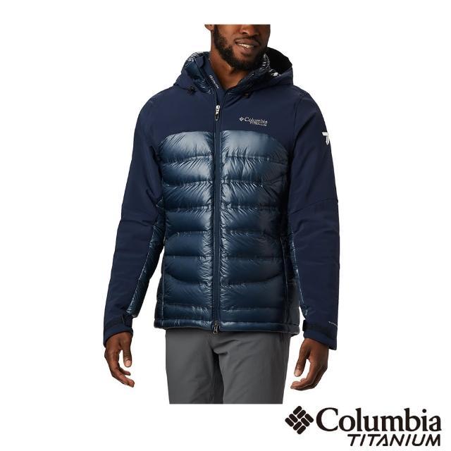 【Columbia 哥倫比亞】男款-鈦 Omni-HEAT 3D鋁點保暖羽絨外套-深藍(UWE08620NY / 防水.保暖.羽絨)