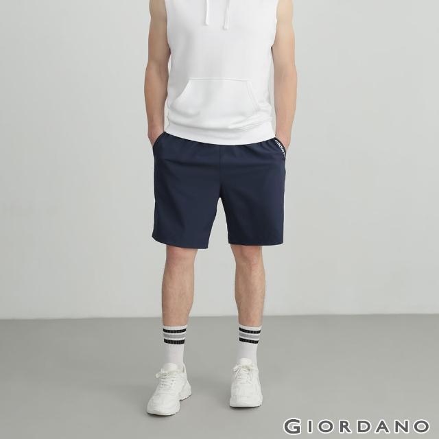【GIORDANO 佐丹奴】男裝3M經典素色運動短褲(66 標誌海軍藍)