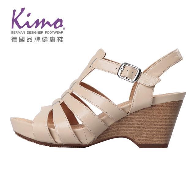 【Kimo】羅馬風情羊皮楔型涼鞋 女鞋(膚 KBJSF157020)