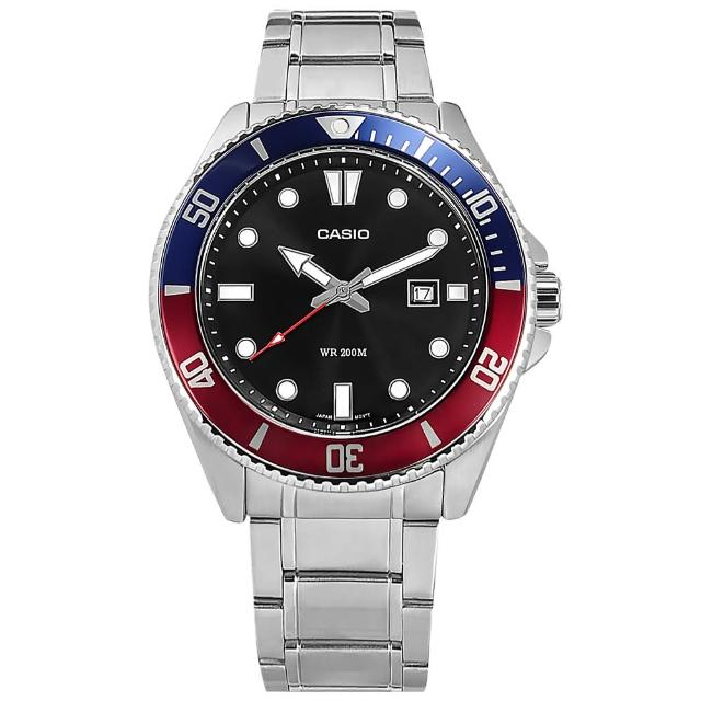 【CASIO 卡西歐】雙錶帶可替換 潛水錶 劍魚 槍魚系列 水鬼 防水 日期 橡膠手錶 紅藍色 44mm(MDV-107D-1A3)