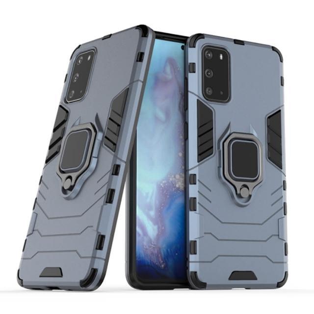 【The Rare】三星 Galaxy S20Ultra 手機殼 車載磁吸指環支架 保護殼 黑豹鎧甲殼 手機套(軟邊硬殼保護套)