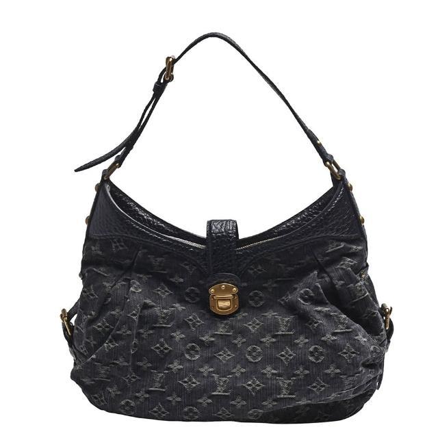 【Louis Vuitton 路易威登】M95608 Monogram Denim丹寧手提/肩背包(黑灰)