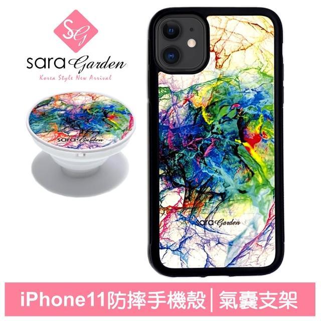 【Sara Garden】iPhone 11 手機殼 i11 6.1吋 防摔保護殼 氣囊手機支架 渲染潑墨(iPhone 11保護套)