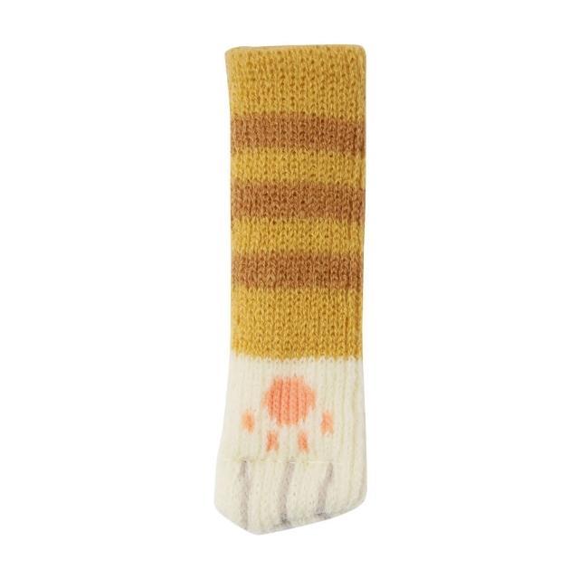 日式貓咪桌椅腳套4入-黃條紋
