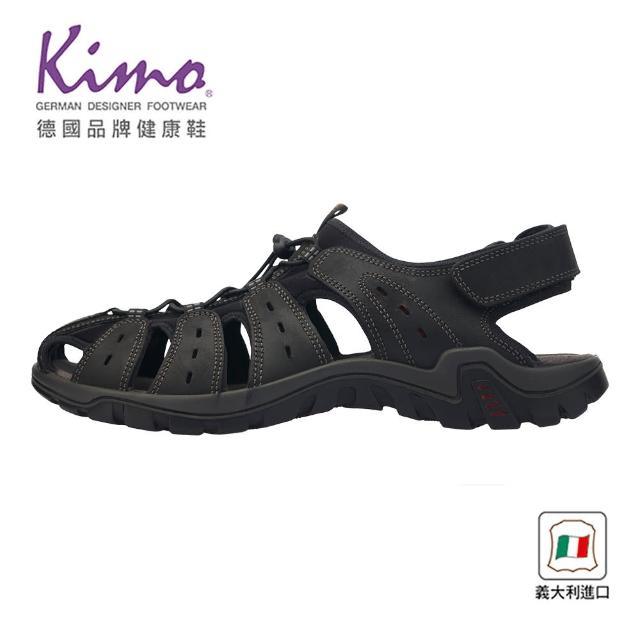 【Kimo】義大利製造包頭護趾涼鞋 男鞋(深灰 7030103400)