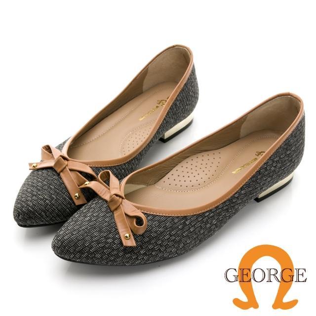 【GEORGE 喬治皮鞋】優雅小香風緞布真皮蝴蝶結配色低跟淑女鞋 -茶色 031010CU