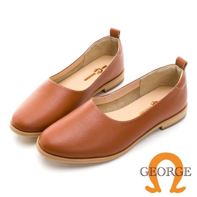 【GEORGE 喬治皮鞋】真皮素面細緻荔枝紋便鞋 -棕 031008HH