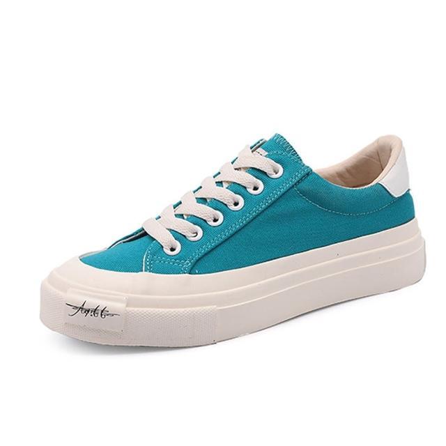 【Taroko】青春復古帆布厚底休閒鞋(6色可選)