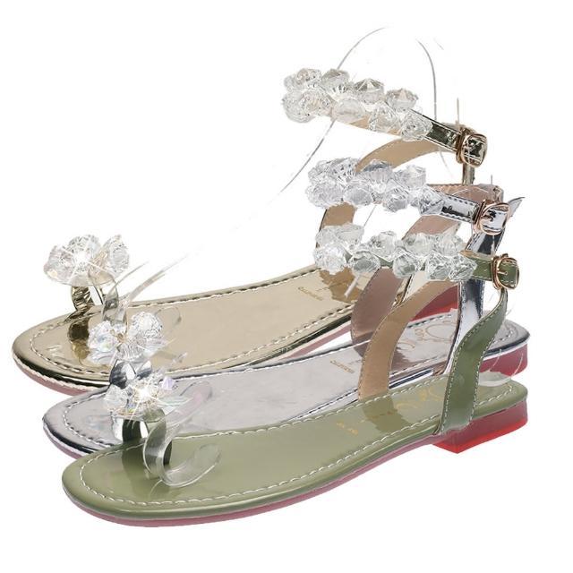【Taroko】水晶花漾時尚夾趾春夏平底涼拖鞋(3色可選)