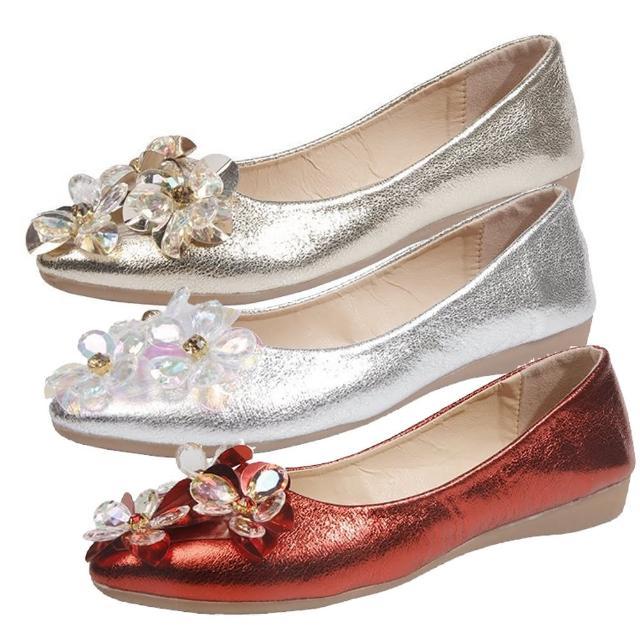 【Taroko】花漾結晶尖頭平底舒適淑女娃娃鞋(3色可選)