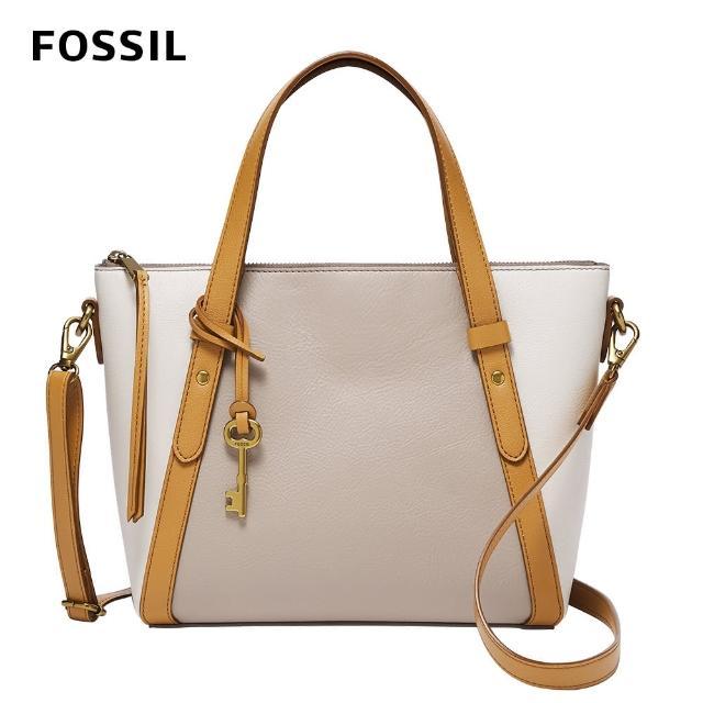 【FOSSIL】Avondale 真皮優雅手提側背兩用包-米色 SHB2796258