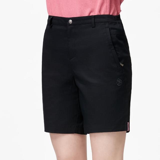 【Wildland 荒野】女彈性透氣抗UV休閒短褲(黑色)