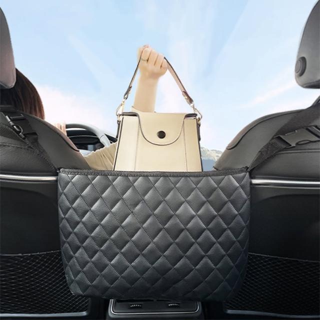 【幸福揚邑】菱格紋汽車座椅間置物袋車用椅背皮革收納袋