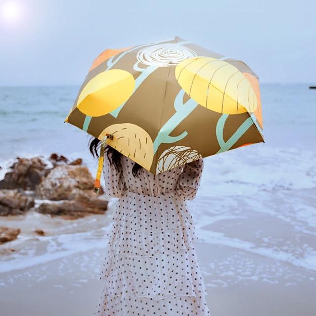 【杏屋家居】抽象藝術黑膠自動折疊傘(紫外線阻隔超過99%/五款花色可選)