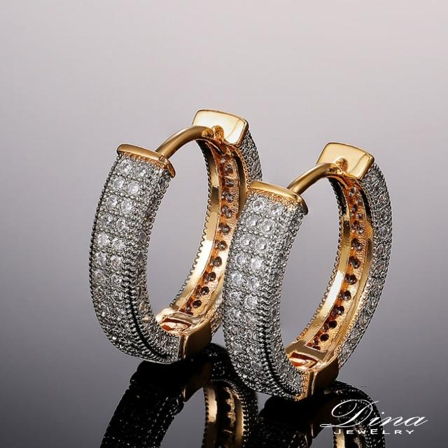 【DINA 蒂娜珠寶】金閃鑽耳 CZ鑽造型耳環(HT8753)
