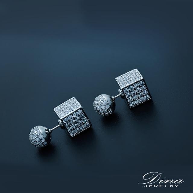 【DINA 蒂娜珠寶】滿鑽骰 CZ鑽造型耳環(TM91859)