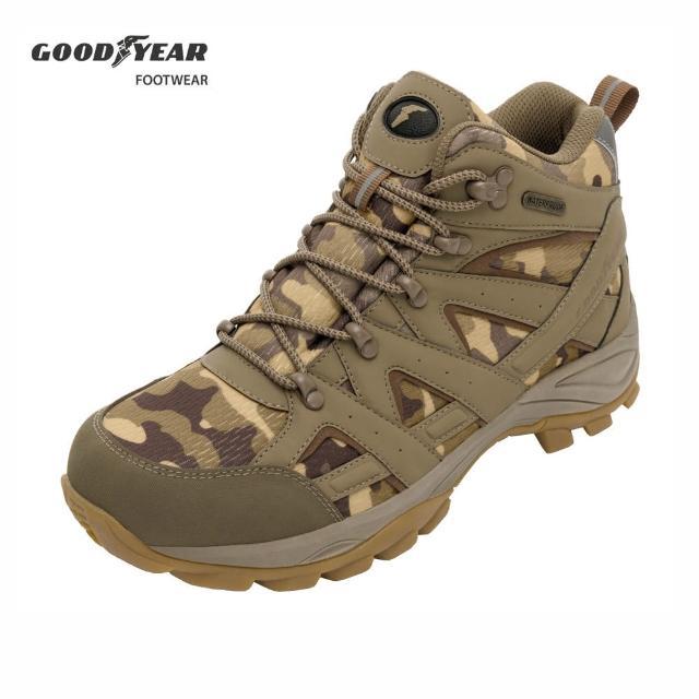 【GOODYEAR 固特異】戰術靴-郊山健行鞋 男 戶外 動態防水襪套 耐磨 高筒 棕色(GAMO03544)