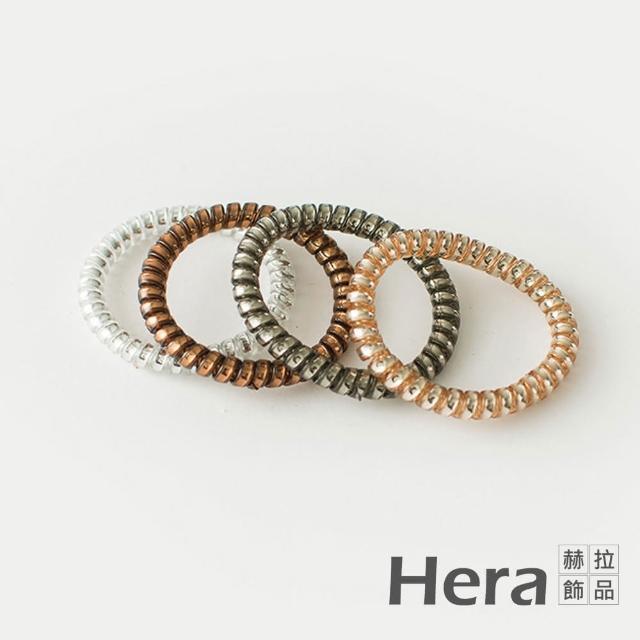 【HERA 赫拉】韓國半透明金屬髮飾-細款隨機色4入組#H100414H(韓款 半透明 髮圈)