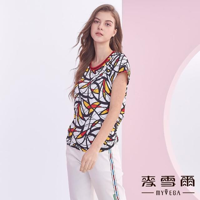 【MYVEGA 麥雪爾】春日配色線條造型短袖上衣