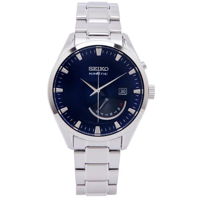 【SEIKO 精工】KINETIC 簡約經典款不鏽鋼錶帶機械錶手錶-藍色面X銀色/42mm(SRN047P1)