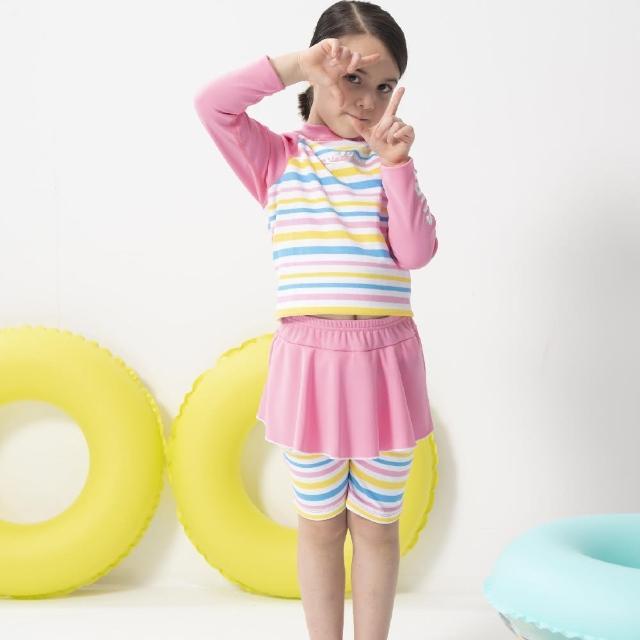 【SARBIS】女童兩截式長袖防曬泳裝 泡湯專用附泳帽(B822005)