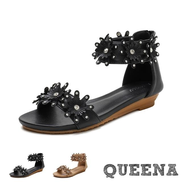 【QUEENA】低跟涼鞋 一字涼鞋/閃耀美鑽立體花朵一字造型羅馬涼鞋(2色任選)