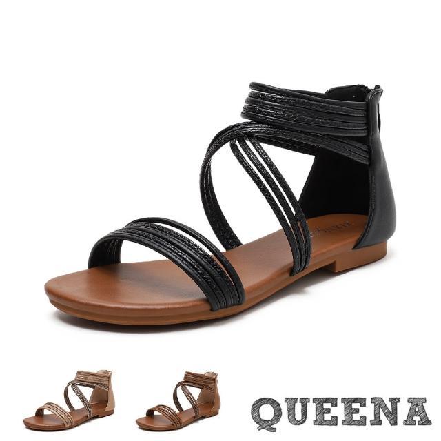 【QUEENA】羅馬涼鞋 一字涼鞋/歐美經典線繩一字交叉繞帶造型低跟涼鞋(3色任選)